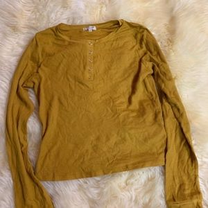 Long Sleeve henley size large yellow